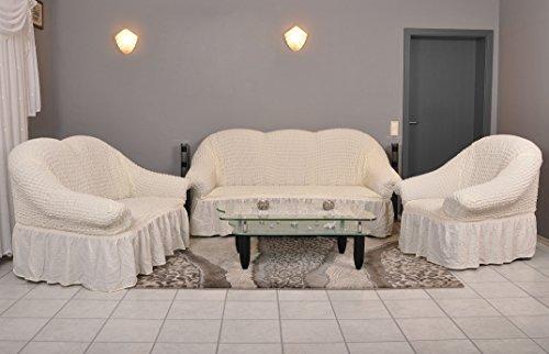 My Palace Stretch Sofabezüge 1er+2er+3er in Creme (Stretchhusse, Sofa-Husse, Sofabezug) / Sofabezug IKEA/sofabezuege 3 2 1 / sofabezug groß/Garnituren Cover