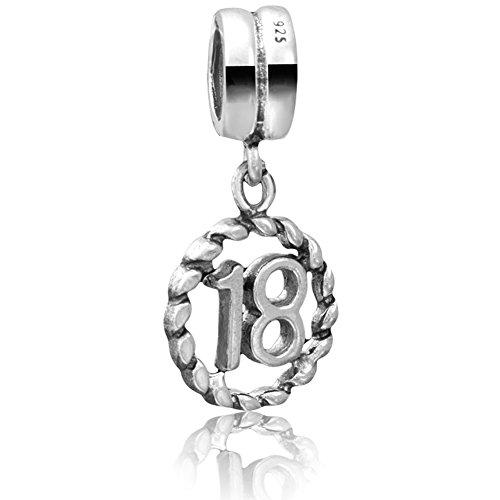 Andante-Stones - original, cuenta de plata de ley 925 solida, plata Sterling, cuenta colgante NUMERO DE SUERTE 18