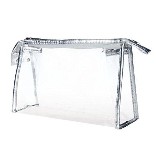 Ouneed® Transparente / Rayures PVC Sac de Toilette Organisateur Comestique Trousse Ecolier (23.5*15cm Argente)