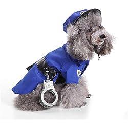 Ulalaza Disfraces de Perros para Mascotas de Halloween Traje de prisión de policía Estilo de Payaso Ropa para Cachorros Suministros para Mascotas