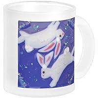 Conigli bianco QueenL--Fantasy Tazza con pendente in vetro dicroico Look (11 Oz)