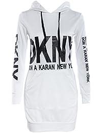 Smile YKK Femme Sweat-shirt Robe Moulante Slim A Capuche Imprimé Hip-package