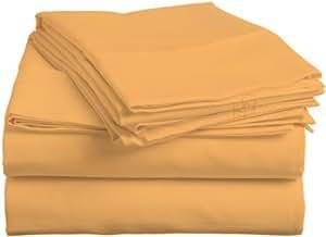 Pearl Betten 300TC Ägyptische Baumwolle-Bettlaken-Set mit italienischem Finish (UK, massiv, Gold)