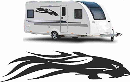 Werbalkost 2x Wohnwagen Wohnmobil Aufkleber Caravan Sticker 120cm schwarz