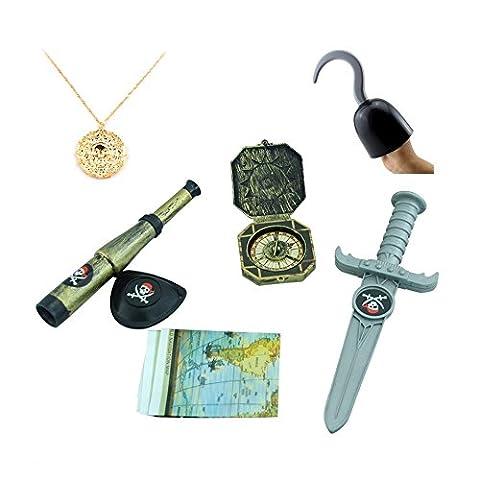 TRIXES Déguisement accessoires pour enfant du parfait petit pirate avec un crochet, une dague, une boussole, une carte au trésor, un cache œil, une longue vue et un