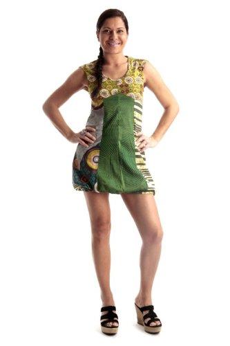 Fashion - Robe courte bouffante 100% Coton Vert