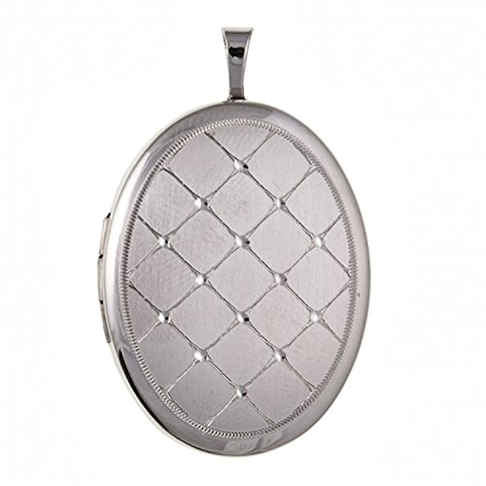 20mm breit medium gesteppt Graviert Oval Medaillon–925Sterling Silber, Lieferung erfolgt in Geschenkbox oder Geschenkbeutel
