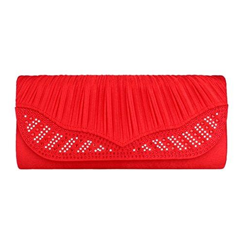 Damara® Fashion Damen Party Lang Strassstein Abendtasche Mit Faltenwurf,Rot Rot