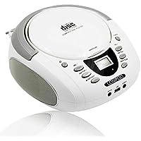LONPOO Mini Reproductor de CD portátil Boombox 2*2W Bluetooth / Radio FM / USB / AUX-IN Entrada y salida de auriculares Jack con sonido estéreo Altavoz Reproductor de audio (D01W)