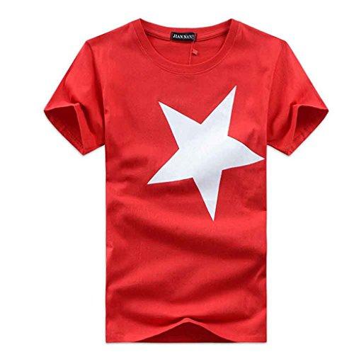 Schlussverkauf!! Männer Hemden, KaloryWee Art- und Weisemänner druckten Qualitäts-Baumwollkurzschluß-Hülsen-T-Shirt (Rot, Size L) (Hawaii-shirt Bucht)