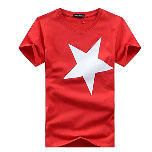 Schlussverkauf!! Männer Hemden, KaloryWee Art- und Weisemänner druckten Qualitäts-Baumwollkurzschluß-Hülsen-T-Shirt (Rot, Size L) (4 X Hawaii-hemden)
