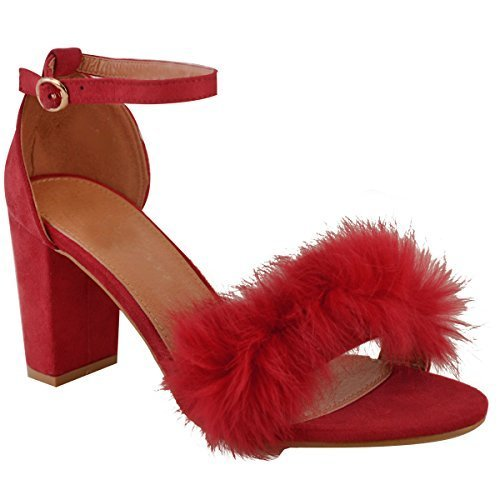Sandales à talons - fausse fourrure douce/brides - pour fête - femme Faux suède rouge foncé/été