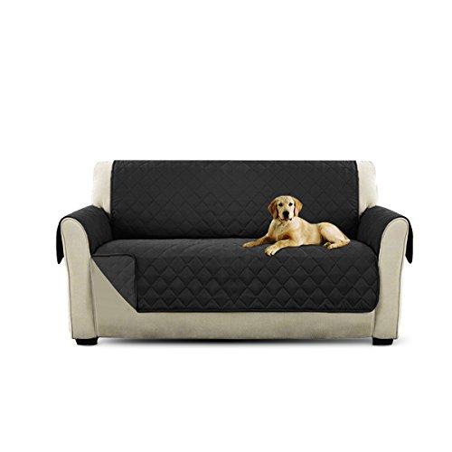 Petcute copripoltrona per divano trapuntato luxury protegge da animali extra morbido nero 2 plazas