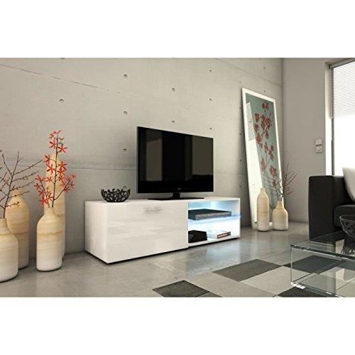 Kora meuble tv 120cm avec éclairage led - blanc brillant
