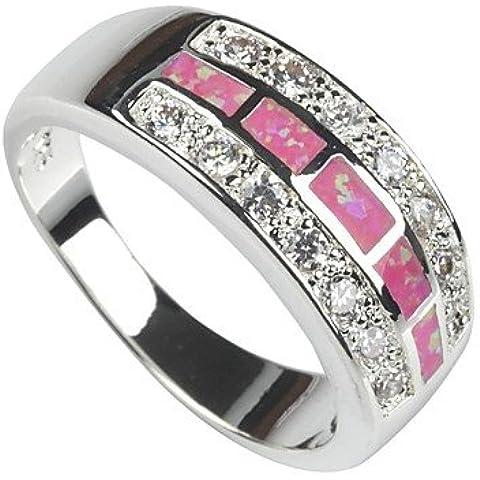 moda argento 925 placcata in rame anello opale rosa