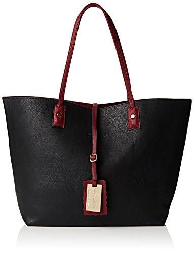 swankyswans-nina-large-reversible-tote-handbag-damen-schultertaschen-schwarz-schwarz-burgunderrot-gr
