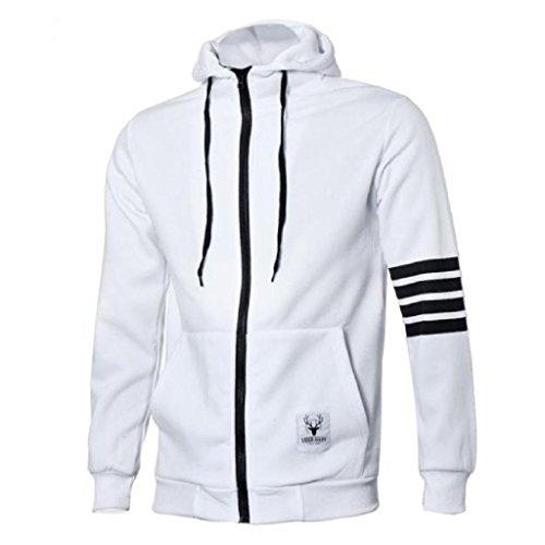 Koly_Moda Uomini Sport vestito di alta Felpa con cappuccio giacche casual (m, bianca)