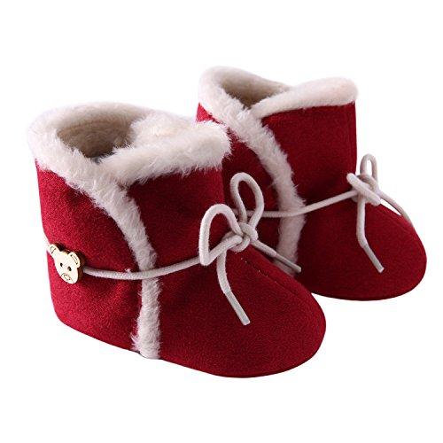 CHIC-CHIC Baby Steifel Winter Füßlinge Anti-rutsch Weich Warm Snow Boots Babyschuhe Prewalker (3-5 Monate, Rot) Rot