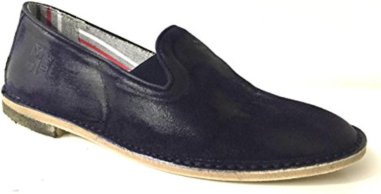 YAB Scarpe Uomo Pantofola CAMOSCIO INGRASSATO Blu Artigianale US15YA02 | Prima qualità  | Sig/Sig Ra Scarpa