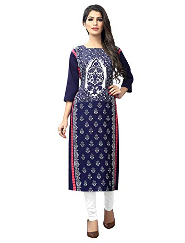 1 Stop Fashion Women's Blue-Coloured Crep Knee Long W Style Kurtas/Kurti