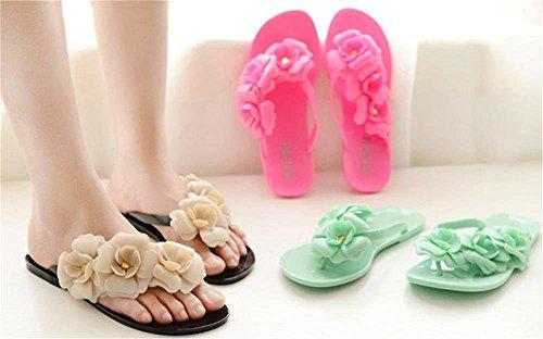Minetom Camellia Tongs Femme Plage Eté Chaussure Flip Flops Bout Ouvert Sandales Chaussons EUROPE Taille Noir