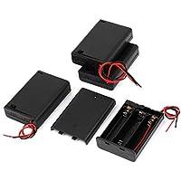 4pcs Negro Shell plástico de 2 Hilos 3 x 1,5 V AA batería Soportes Casos