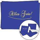 5 Alles Gute Grußkarten im Set | DIN A6 | Komplett-Set aus Doppelkarte & Umschläge & Einleger, stilvolle Glückwünsche, Genesung | Royal-Blaue Abschieds-Karten und Hüllen mit gold-metallic Schrift