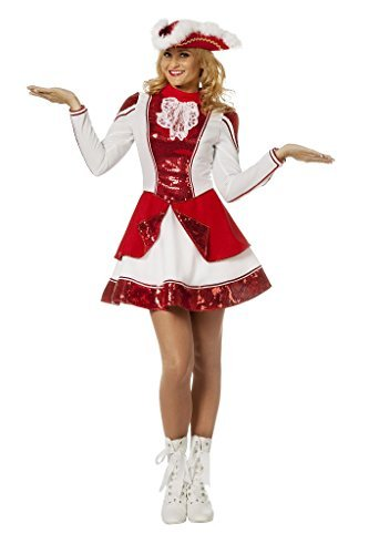Tanzmariechen Kleid Garde für Kinder rot/weiß mit Pailletten ohne Hut Gr. ()