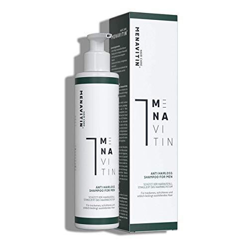 MENAVITIN Anti Hairloss Shampoo for Men - Pflege Shampoo gegen Haarausfall, für starke Haarwurzeln - repariert und pflegt am Ansatz - 1-MNA regt das Haarwachstum an, dermatologisch getestet
