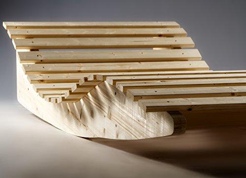 TUGA Holztech Naturholz massive wetterfeste extrem stabile Schaukelliege Relaxliege Massivholzliege Liege Formliege LIEGELÄNGE ca. 205cm 70 cm Breit