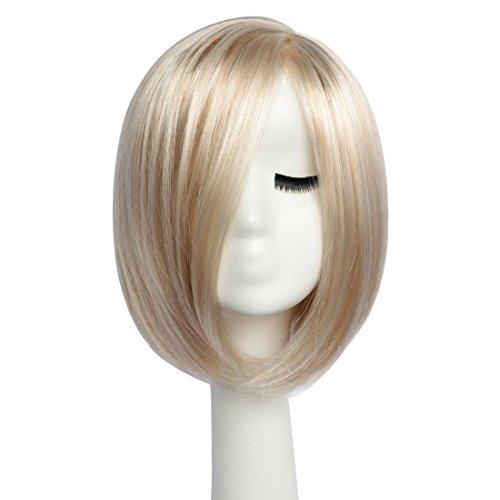 BESTUNG Kurze Bob Gerade Perücken für Frauen Volle Perücke Natürliche Ombre Blonde Synthetische Perücken Harajuku Stil Haar für Cosplay Party mit Free Wig Cap(EINWEG) -
