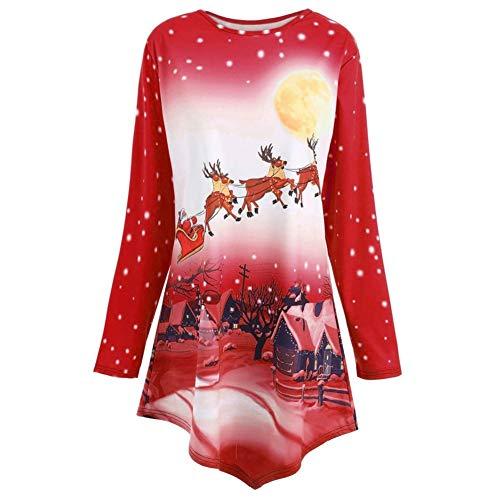 Bluelucon Damen Langarm Basic Uni Leichtes Freizeit Rundhals mit Knopf Plissee T-Shirt Oberteile Tunika ()
