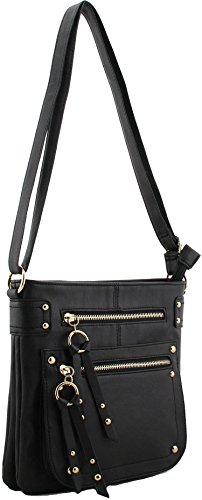 New Schöne Damen Große Kunstleder Cross-Body-Handtasche Schultertasche K Verkäufer (schwarz) schwarz