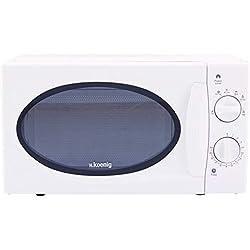 H.Koenig VIO6 Micro-ondes Compact 20L Blanc, Puissant 700W, Plateau tournant 24,5cm, Multifonction 5 niveaux de chauffe et fonction décongélation, Minuterie jusqu'à 30min, Rapide, Plan de travail