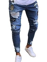 Keephen Pantaloni jeans da uomo, Jeans da uomo skinny strappati elasticizzati da uomo Pantaloni denim denudati slim fit con zip