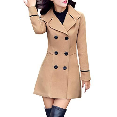 Amphia Lange Wintermanteljacke für Damen Sweatjacke Softshelljacke,Wolle Double Breasted Mantel elegant Langärmelarbeits Büro Fashion Jacket(Khaki,XL) -
