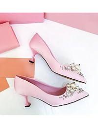 63927cc0af Xue Qiqi Court Schuhe Brautschuhe Hochzeit Schuhe Weibliche Rote Spitzen High  Heels 5cm mit Strass Flachen