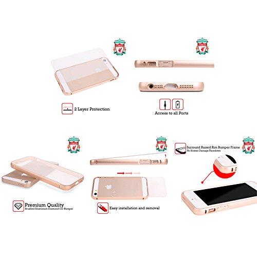 Ufficiale Liverpool Football Club Liver Bird Oro 2017/18 Marmo Oro Cover Contorno con Bumper in Alluminio per Apple iPhone 5 / 5s / SE Cresta Blu Bianco