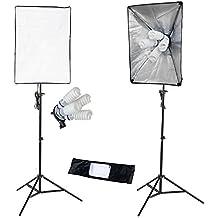 PMS Softbox 2 x 50x70cm 8x E27 5500K lámpara- Ventana de Luz para fotografía: iluminación continua
