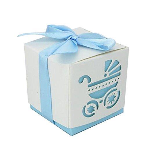10 Party Geschenk Schnitt Baby Dusche Candy Band Boxen Kutsche Dusche Favor Bonbonniere Hochzeit himmelblau