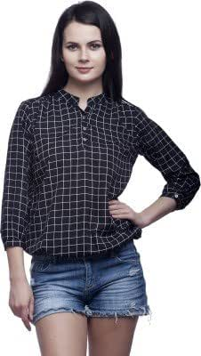Mallory Winston Black Checkered Baloon Women's Top-MW042-XS