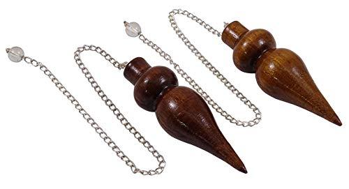 """✤ péndulo egipcio de madera con una pequeña bola de cristal para ayudarlo a mantener, cadena de cuentas exento de vibraciones, el péndulo termina en una punta fina   ✤.; Tamaño (aprox.): Longitud total - 9"""" pulgadas, Péndulo Longitud - 2"""" pulgadas  ..."""