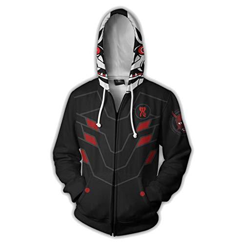 Männer und Frauen Unisex 3D Printed Large Size Hoodie sweatershir Uhr The Vanguard Evil Spirit Hoodie mit Kapuze,Black-S