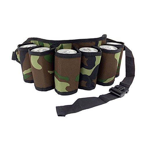 Festnight Outdoor Six Pack Bierflasche Gürtel Tragbare Getränke Gürteltasche Camping Sammeln Trinken Halter für Weine, Biere und Dosen (Six Pack-tasche)