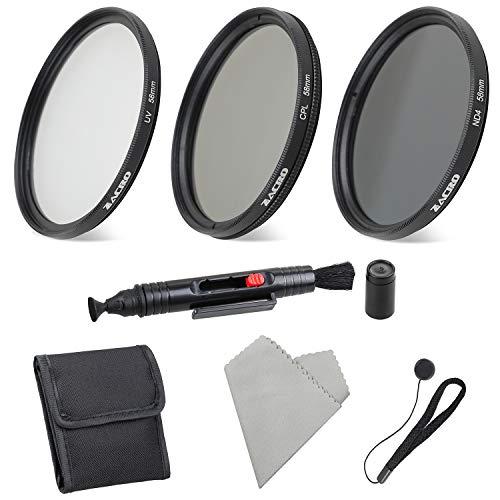 Zacro 6 In 1Kit Filtri fotografico 58mm (kit filtri e accessori UV, ND4, CPL) per fotocamera DSLR, penna ottica, sacchetto filtro, paraluce, copriobiettivo, panno di pulizia in microfibra incluso