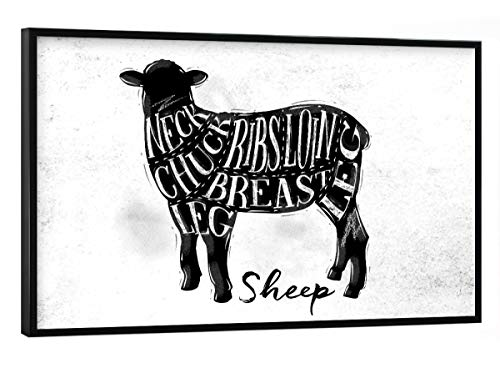 artboxONE Poster mit schwarzem Rahmen 30x20 cm Essen & Trinken Schaf-Lammschneidemaschine - Bild Schafe Lamm Schnitt