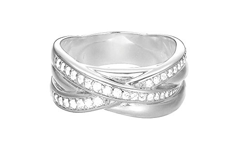 Esprit Damen-Ring JW50227 Messing rhodiniert Zirkonia weiß Rundschliff Gr. 59 (18.8) - ESRG02687A190