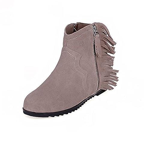 Femmes Dames Nouveau Bottes à perles courtes Chaussures rondes Nike Dunk Sky Hi Chaussures à talon compensé Pompes à fermeture à glissière latérales Noir Voile rouge Nude Autumn Winter Party Carrière , nude , EUR 36/ UK 3.5