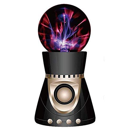 MYY Plasma Kugel Licht Berühren Empfindlich Beleuchtung Bluetooth Lautsprecher USB Kugel Kristallsubwoofer Nachtlampe,Schwarz