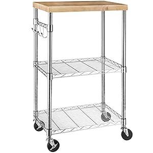 Amazon Basics – Küchenrollwagen, Holz/Chrom